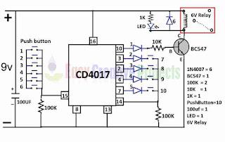 simple key code lock switch circuit diagram
