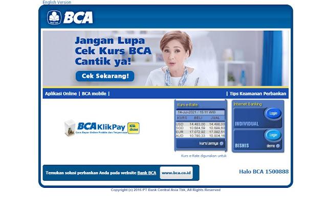 Screenshot Halaman Login KlikBCA Internet Banking