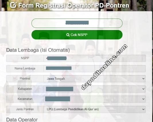 Contoh Data Lembaga TPQ-Madin-Ponpes Sudah Terisi Otomatis