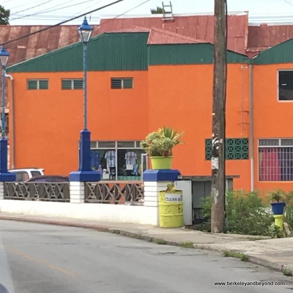 colorful building on main artery through Barbados