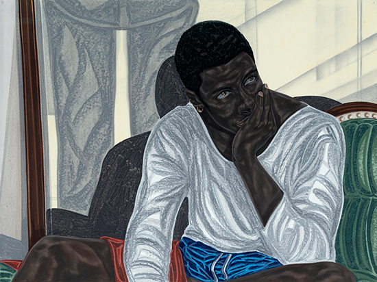 Toyin Ojih Odutola  In the Drawing Room, 2018 pastel, charcoal and pencil on paper  35 1/2 x 45 3/8 inches