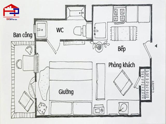 bố trí phòng bếp phòng ngủ