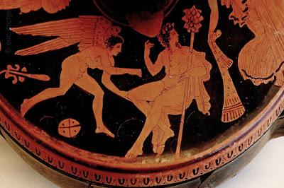 Dionysos, génie, thyrse, mythologie, mythologie grecque, ailes,