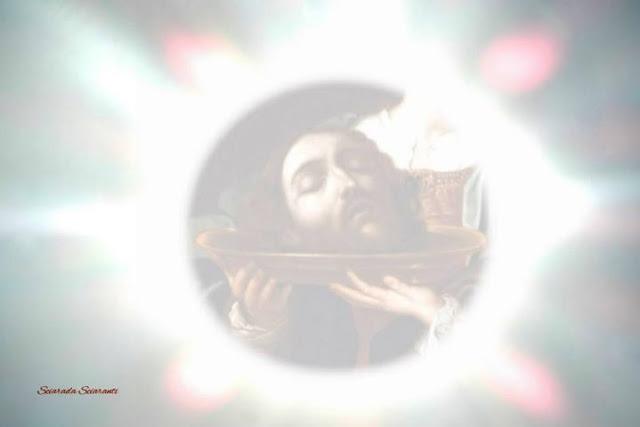 All'alba sul disco solare Giovanni il Battista decollato