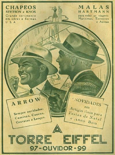 Campanha varejista de loja de departamentos com produtos segmentados para homens nos anos 40