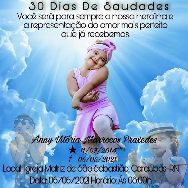 Convite Missa de Celebração de 30 dias de saudades de Anny Vitória
