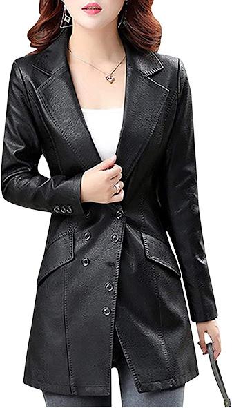 Faux Leather Blazers Jackets For Women