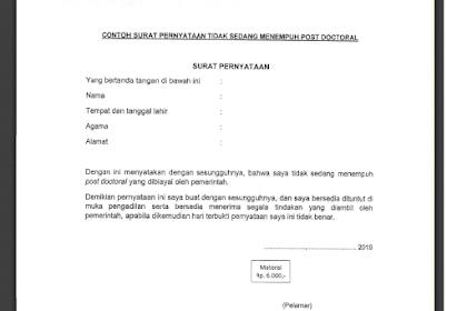 Format Surat Pernyataan Tidak Sedang Menempuh Post Doctoral