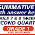 QUIZ 4- Summative Test GRADE 1 Q2