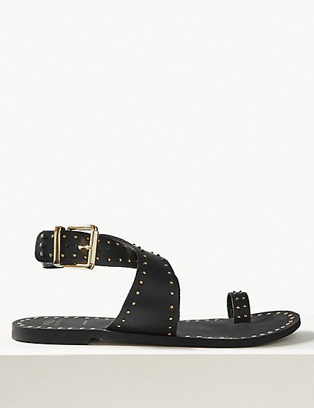 marks and spencer leather studded toe thong sandals