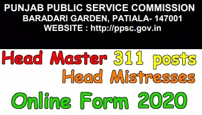 PPSC Head Master and Head Mistresses Recruitment 2020