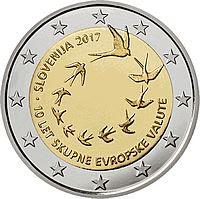 slovenia 2 euroa kolikko 10 eurovaluuttaa 2017