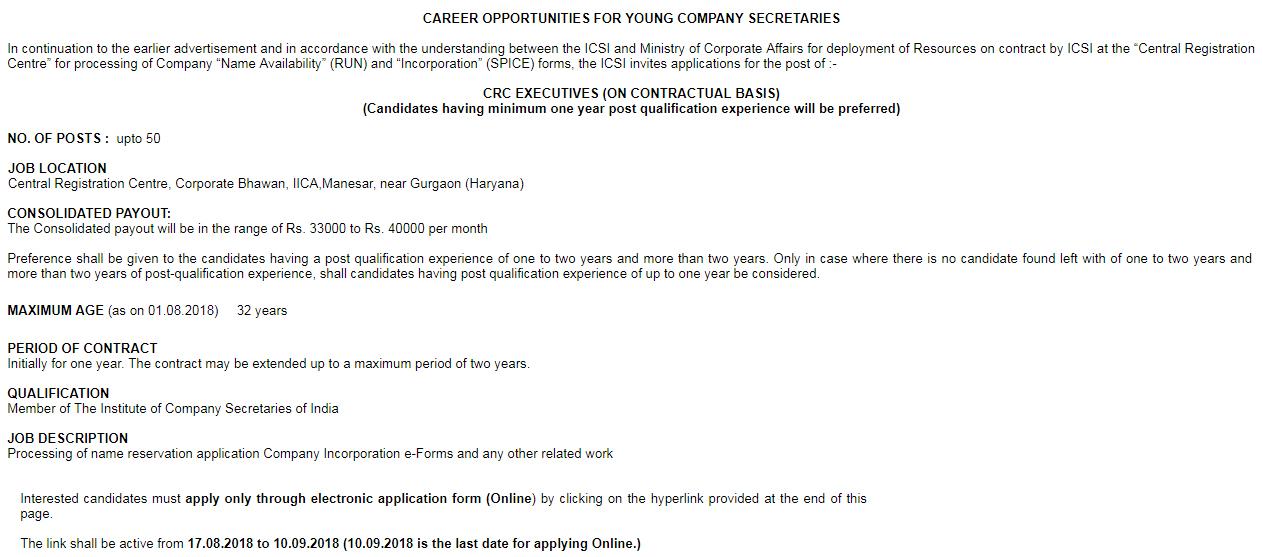 ICSI Recruitment