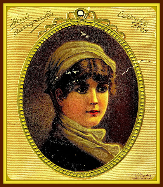 gold-framed illustration of brunette facing right with tan scarf