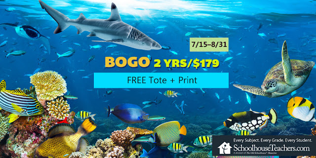 BOGO 2 yrs/$179 Free Tote & Print; 7/15-8/31; SchoolhouseTeachers.com; Every Subject. Every Grade. Every Student. image of shark and fish