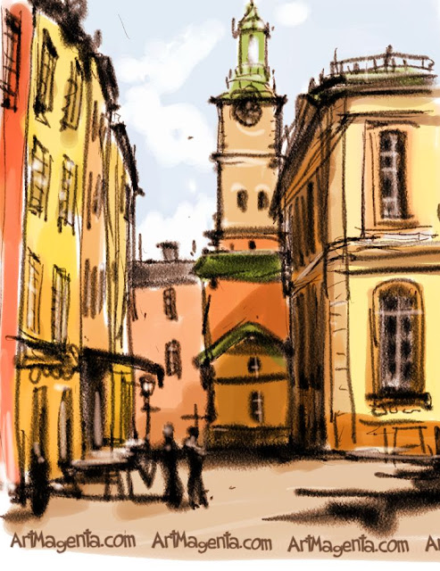 Old town, Stockholm is an urban sketch by illustrator Artmagenta