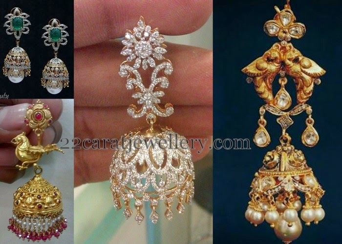 Unique Gold And Diamond Jhumkas Jewellery Designs