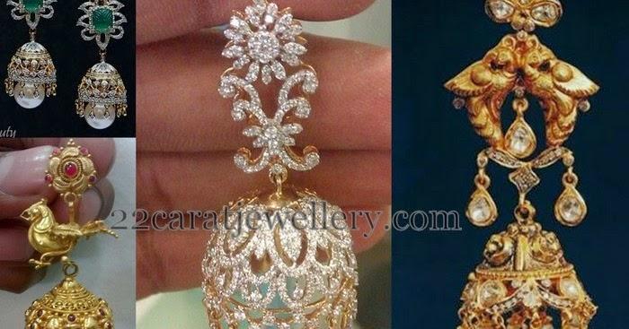 Unique Gold And Diamond Jhumkas Jewellery Designs