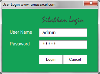 Form Login Excel
