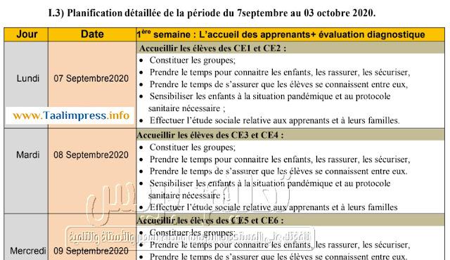 تخطيط مفصل لاستثمار فترة التقويم التشخيصي من 7 شتنبر إلى 3 أكتوبر 2020 لأساتذة الفرنسية