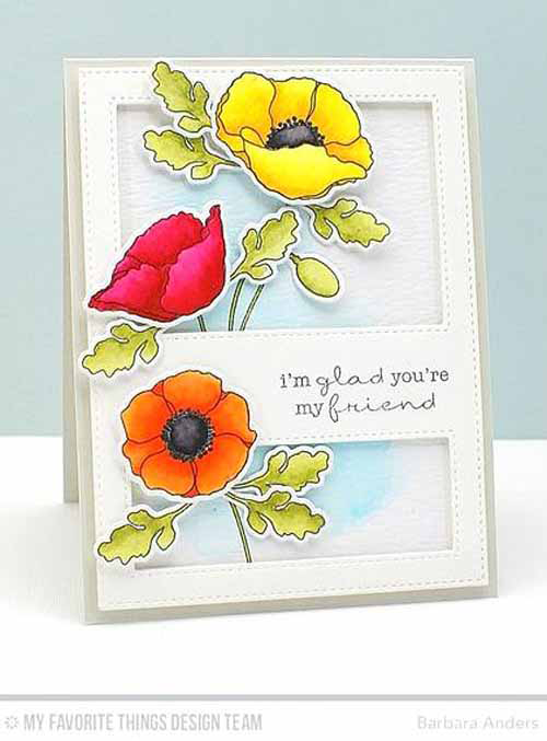 Poppy Friend Card by Barbara Anders featuring Lisa Johnson Designs Delicate Pretty Poppies stamp set, Poppies and Leaves and Stitched Cover-Up Companion - Vertical Die-namics #mftstamps