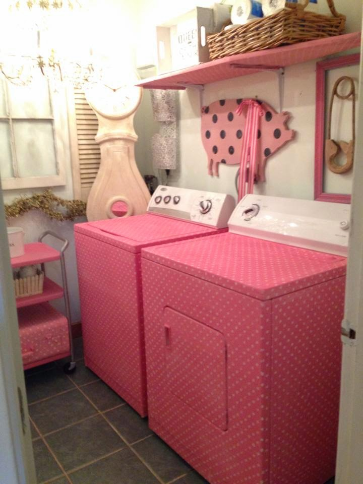 Maison Decor Pink Polka Dotted Washer And Dryer