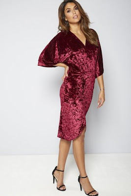 Be You Kimono Sleeve Wrap Front Crushed Velvet Dress