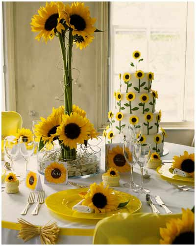 Sunflower Wedding Cake Ideas: International Fashion: Sunflower Themed Wedding