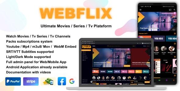 WebFlix php script–Movies – TV Series – Live TV Channels – Subscription