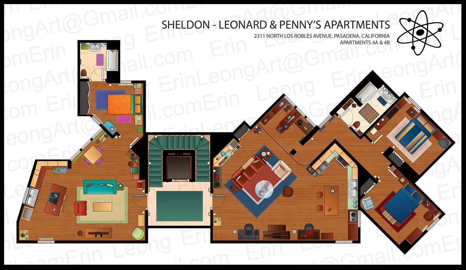 Erin Leong Illustrated Floorplans For The Big Bang Theory