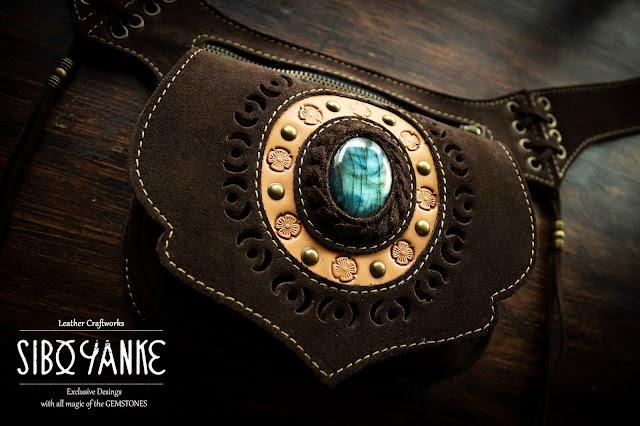Festival Belt-Leather Utility Belt-Hip Belt-Belt Bag-Waist Bag with LABRADORITE Stone HANDMADE by Sibo Yanke