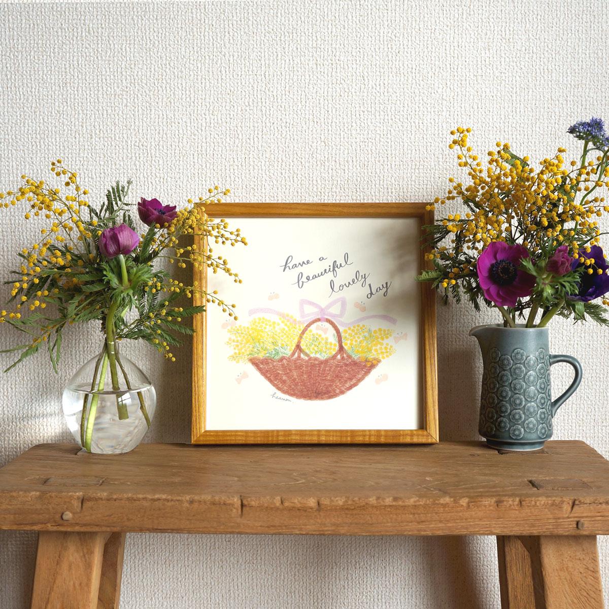 春の新作♩「ミモザの花かごポスター」が出来上がりました⭐︎