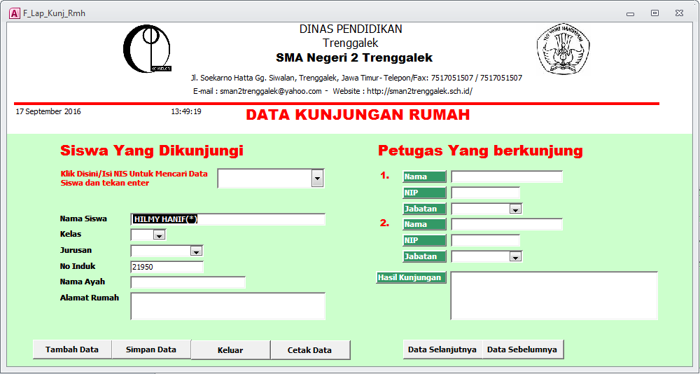 Data Kunjungan Rumah - Aplikasi Bimbingan Konseling Gratis