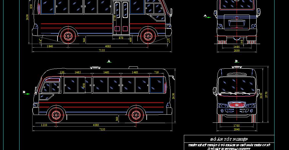 Bản vẽ kỹ thuật ôtô khách 29 chỗ ngồi