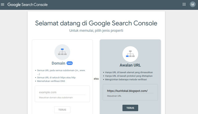 Cara Menghubungkan Blog Ke Search Console