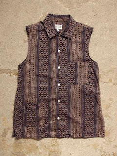 "FWK by Engineered Garments ""Camp Shirt in Khaki/Navy Multi St. Jacquard"""