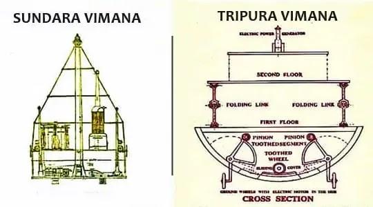 Sundara vimana and Tirpura vimana ancient Indian Vimana shastra diagram design