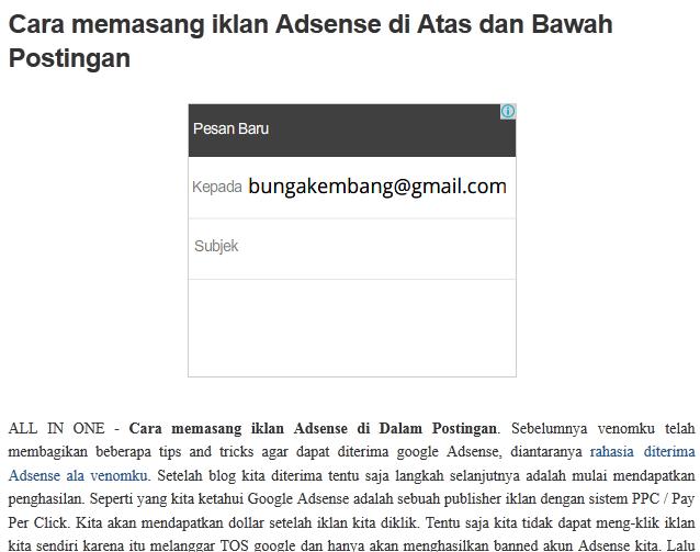 Cara Memasang Iklan Adsense Di Atas Dan Bawah Postingan