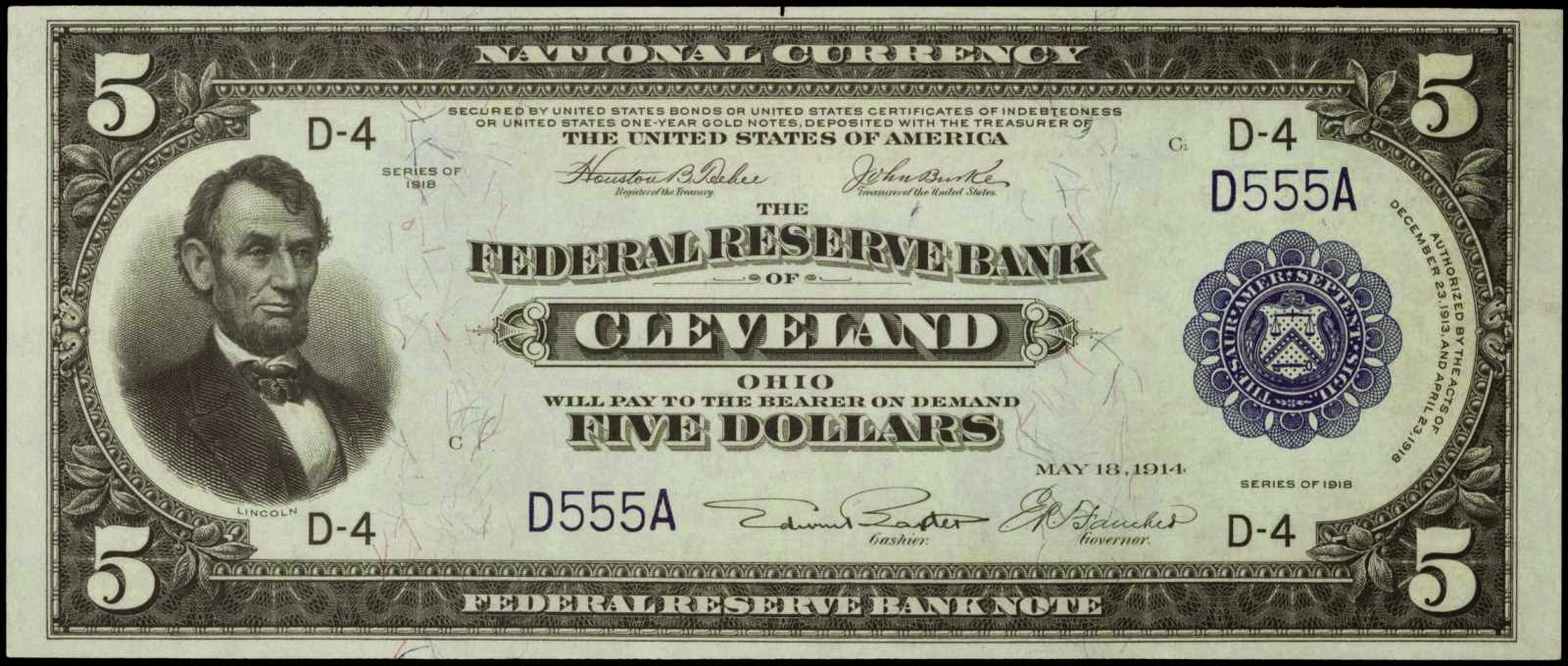 United States banknotes Five Dollar Federal Reserve Bank Note Series 1918