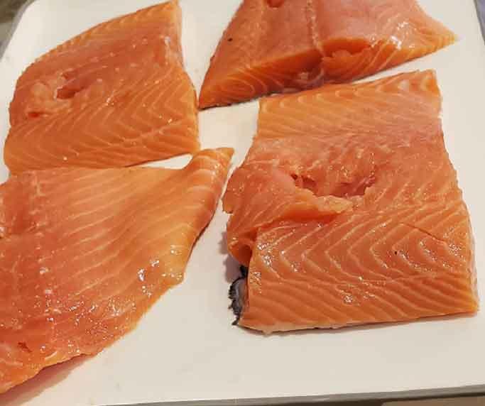 raw salmon filets