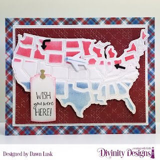 Divinity Designs Stamp Set: Adventure Awaits, Custom Dies: USA Map, Double Stitched Rectangles, Gift For You, Embossing Folder: Cross Stitch, Paper Collection: Old Glory