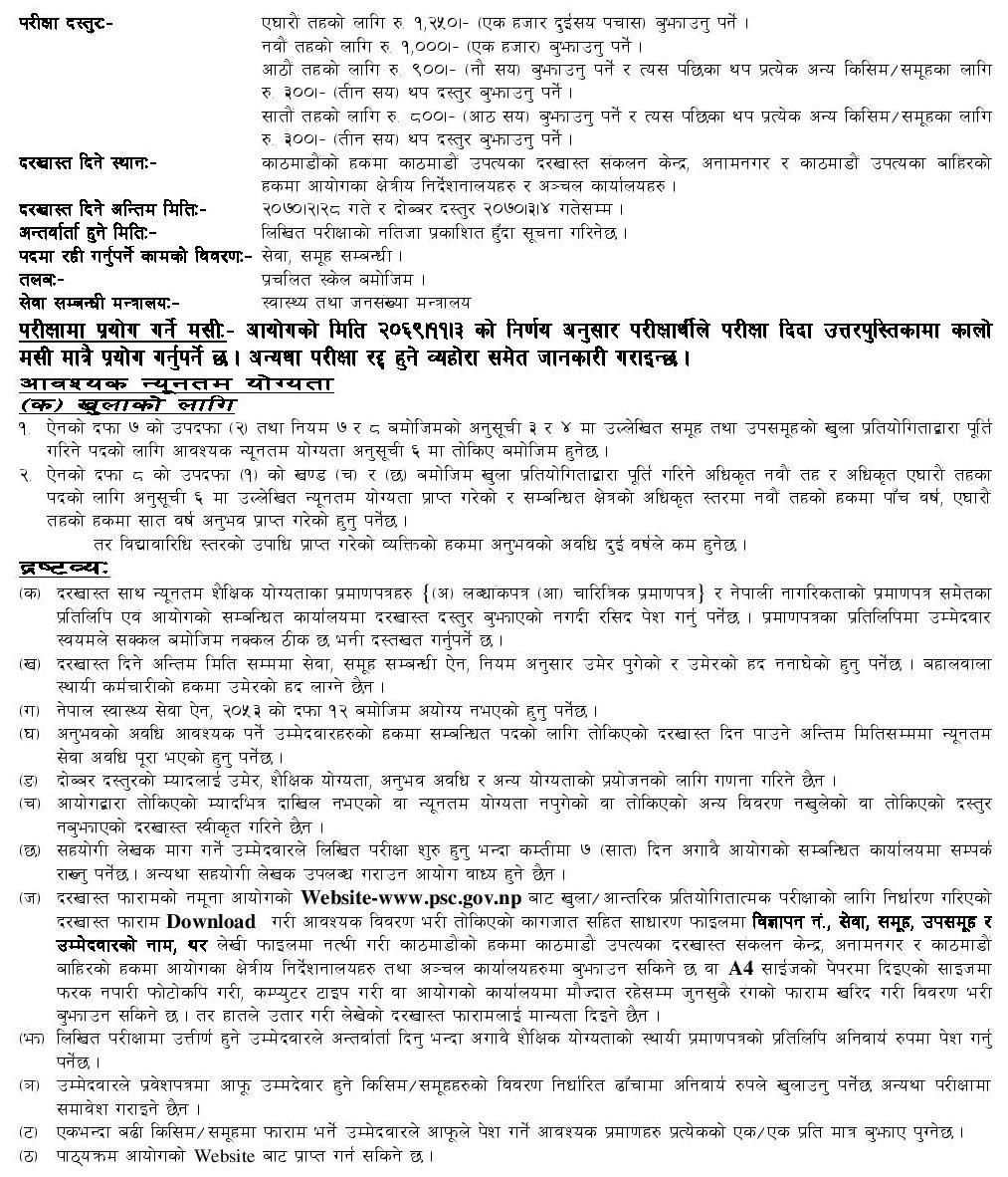 Vacancy Announcement By Public Service Commission Lok