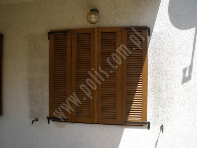 okiennice czteroskrzydłowa, okiennice składane, żaluzje drewniane,