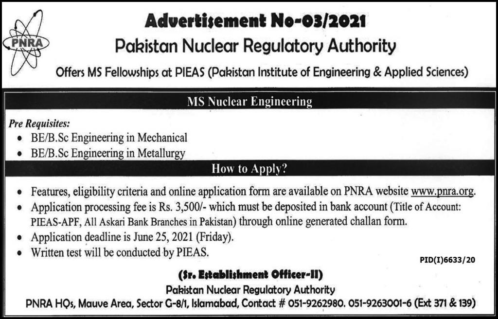 Latest PNRA PIEAS Pakistan Nuclear Regulatory Authority Jobs 2021