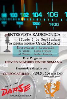 Cartel para la entrevista radiofónica de Félix Crujera el Onda Madrid, 3 de septiembre de 2016