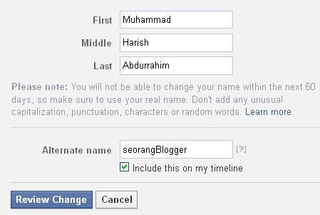 Cara Mengganti Nama Facebook Yang Sudah Limit atau Tidak Bisa Diganti