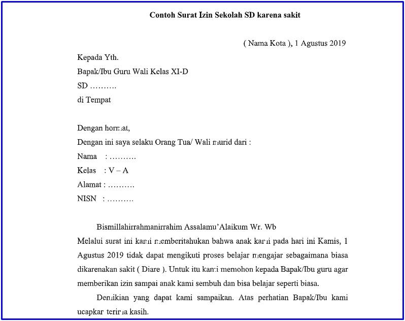 Contoh Surat Izin Sekolah Dasar