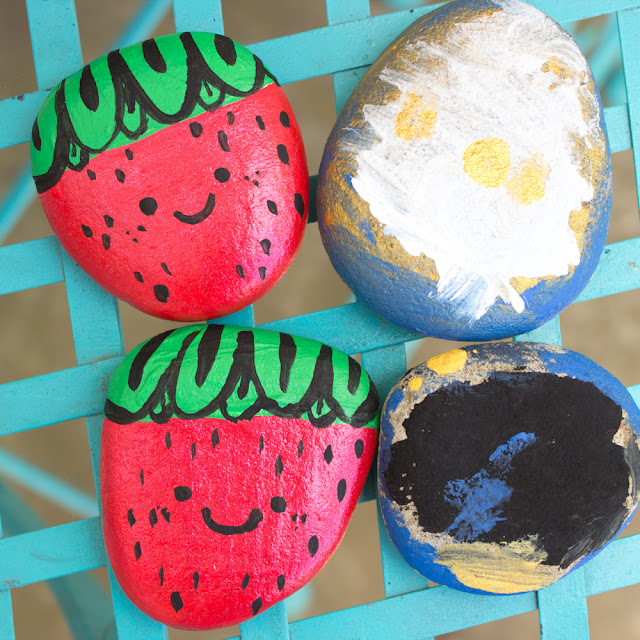 How to paint adorable and cute rock strawberries with acrylic white, black, red, and green paint