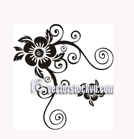 Vector.Black and white vintage floral frame template