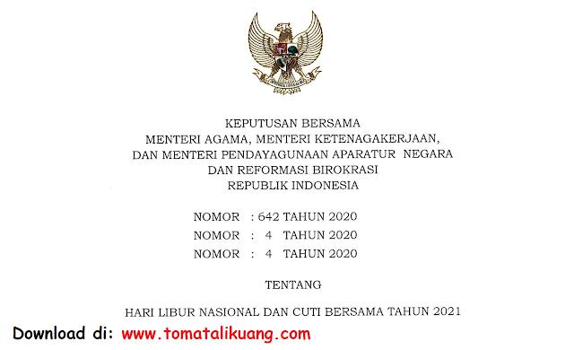 sk 3 menteri tentang hari libur nasional dan cuti bersama tahun 2021 pdf tomatalikuang.com